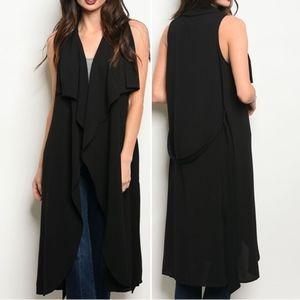 Belted Sleeveless open front drape long vest.
